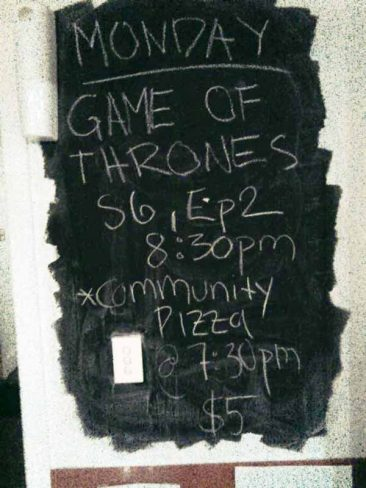 Regular events posted on our wall!